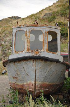 Boat, Old, Rusty, Iron, Vintage, Water, Landscape, Sea