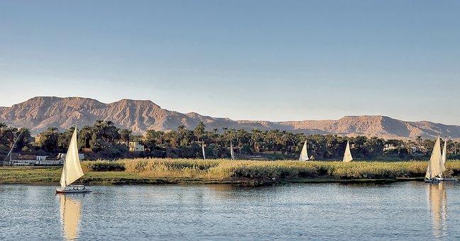 Egypt, Nile, Luxor Felucca, Sailing Boats