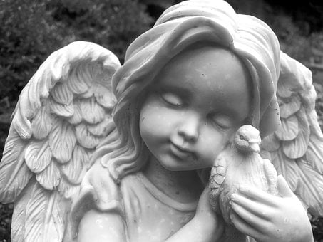Angel, Statue, Face, Child, Memorial, Dove, Wings