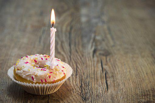 Donut, Cake, Birthday, Candle, Sweet, Sweetness, Nibble