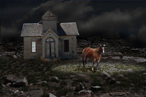 Night, Horse, Ranch House, Fantasy, Outdoors