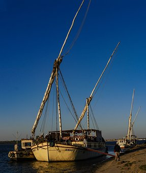 Sailing Vessel, Nile, Egypt, Pier, Ship, Traditionally