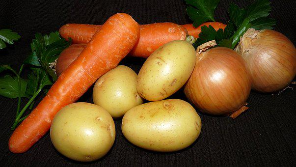 Vegetables, Carrots, Potatoes, Onion, Food, Vegetarian