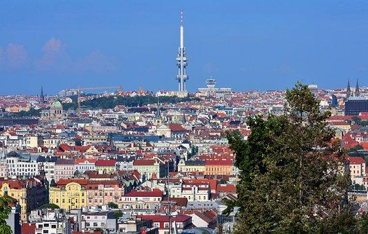 Panorama, Prague, Czechia, Tower, Church, House, Sky