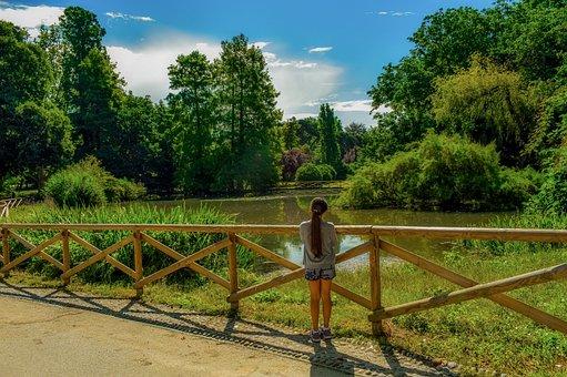 Park, Lake, Forest, Girl, Morning, Sunshine, Landscape