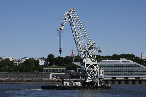 Shipping, Floating Crane, Hamburg, Elbe, Port City