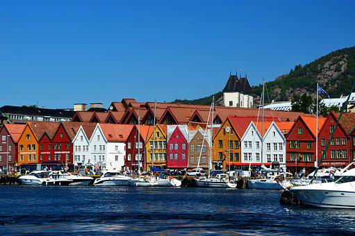 Port, Architecture, Row Of Houses, Boats, Scandinavia