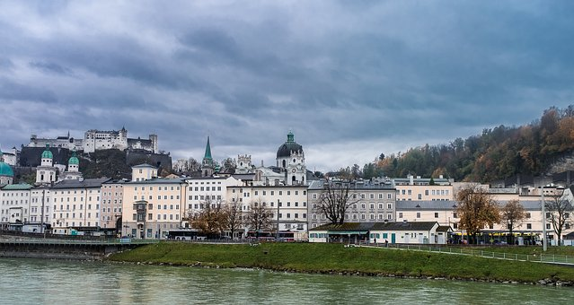 Salzburg, Austria, Riverbank, Monastery, Castle, River