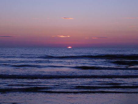 Netherlands, Sunset, Sea, North Sea, Romantic