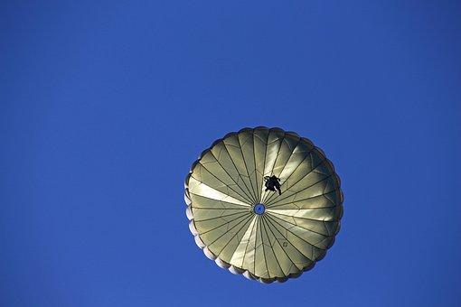 Parachute, Soldier, Float, Parachutist, Army, Sky