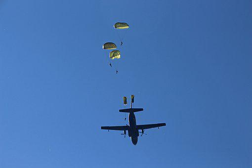 Aircraft, Parachutes, Jump, Sky, High, Soldiers