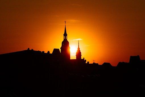 Sunset, City, Silhouette, Architecture, Dusk, Skyline