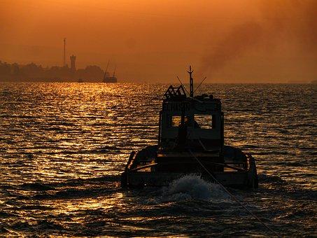 Tug, Powerboat, Sunrise, Morgenrot, River, Transport