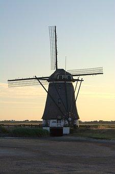 Het Noorden, Windmill, Mill, Texel, Sunset, Landscape