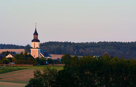 Landscape, Thuringia Germany, Village Church, Evening