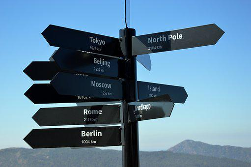 Directory, Signs, Cities, Distances, Norway, Tourism
