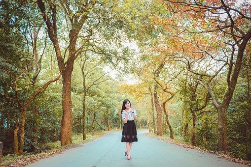 Girl, Tree, Color, Dress, Smile, Portrait, Asia