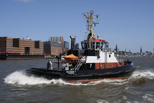 Shipping, Ship, Towing Vessel, Tug, Hamburg, Port City