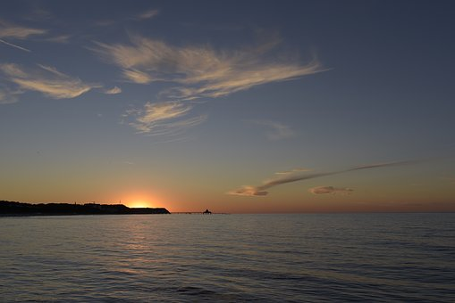 Sunset, Usedom, Sea, Sun, Sky, Beach, Vacations, Nature