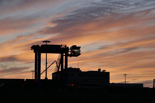 Sunrise, Dawn, Hamburg, Port, Van Carrier, Straddle