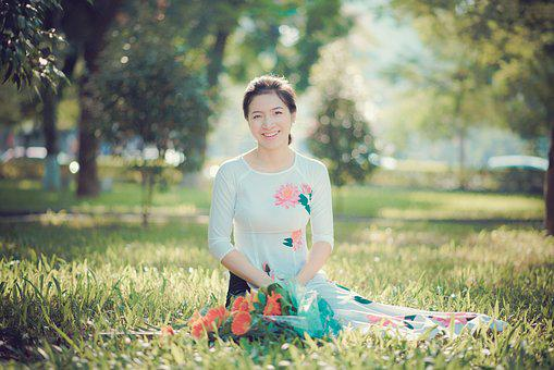 Long Dress, White, Vietnam Girl, Aodai, Sun Flower