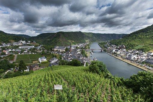 Vineyards, Landscape, Nature, Mosel, Bridge, City