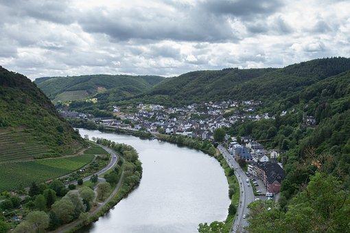 River, Mosel, Vineyards, City, Germany, Landscape