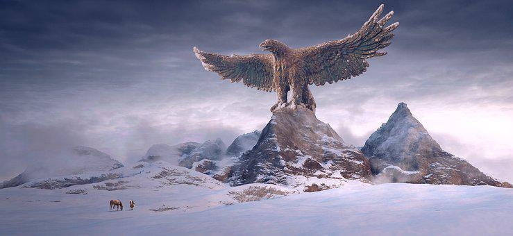 Fantasy, Mountains, Adler, Huge, Landscape, Winter