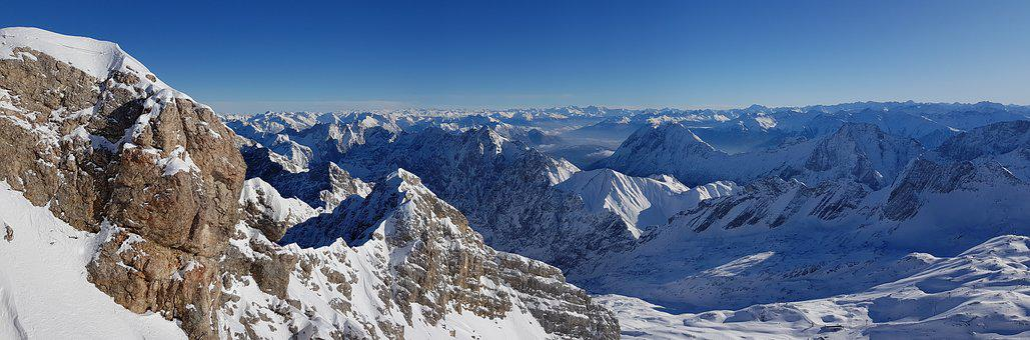 Zugspitze, Alpine, Landscape, Mountains, Panorama