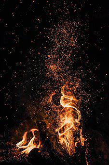 Koster, Spark, Fire, Night, Bright, Burning, Flame