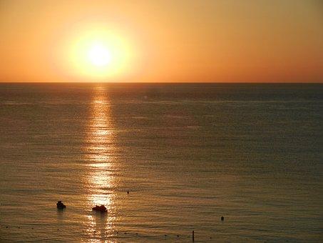 Sunset, Caribbean, Ocean, Beach, Horizon, Calm