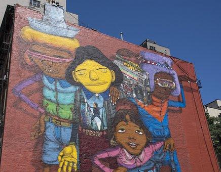 New York, City, Urban, Mural, Street Art, Bricks