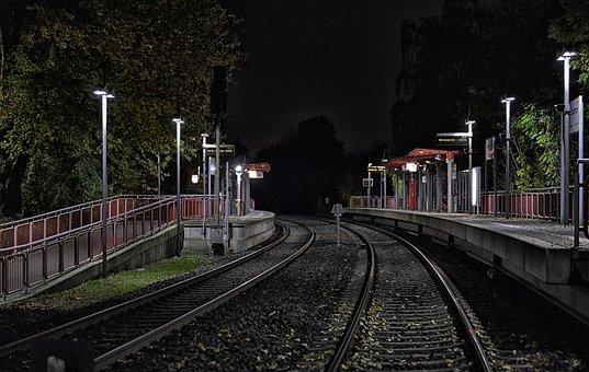 Mettmann, Regio Train, Railway, Rails, Darkness, Train