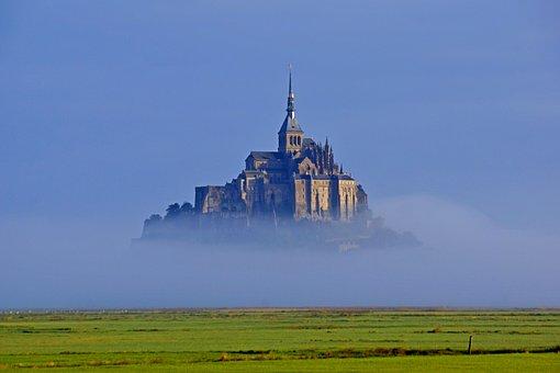 Mont-saint-michel, Island, Rocky, Fortress, France, Fog
