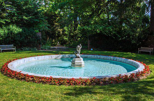 Fountain, Estate, Statue, Garden, Summer
