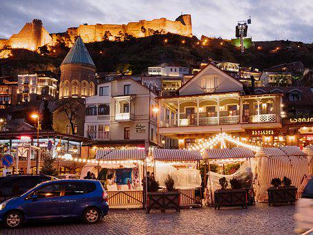 Georgia, City, Landscape, Travel, Street, Night