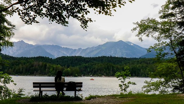 Eibsee, Human, Mountains, Landscape, Nature, Rock, Sky