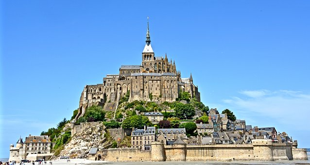 Mont-saint-michel, Island, Day, Fortress, Rocks, France