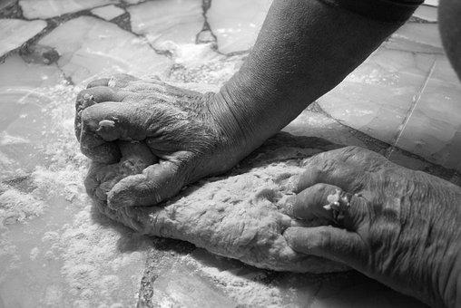 Hands, Mass, Kitchen, Flour, Knead, Bread, Hand, Work