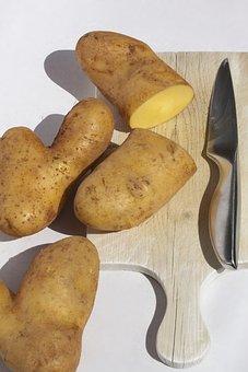 Potato, Sliced, Knife, Wooden Board, Old, Heart