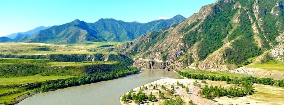 Altai, River, Mountains, Panorama, Landscape, Siberia