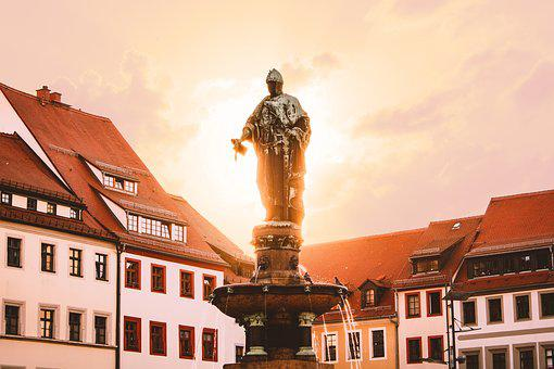 Otto The Rich, Sunset, City, Market, Fountain, Freiberg