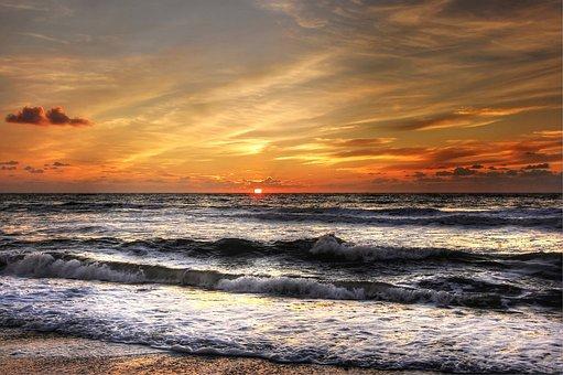 North Sea, Sun, Sky, Beach, Sea, Coast, Clouds