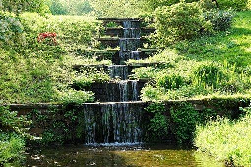 Baden Baden, Waterfall, Park, Nature, Germany