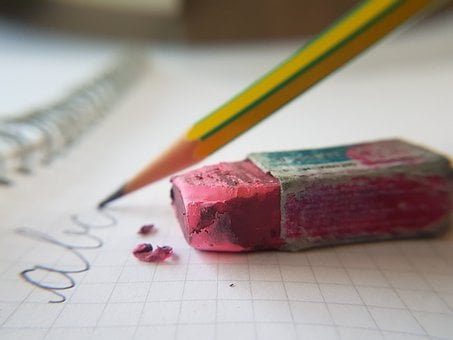 Writing, Learning, Eraser, Pink, Rubber, Used, Pencil