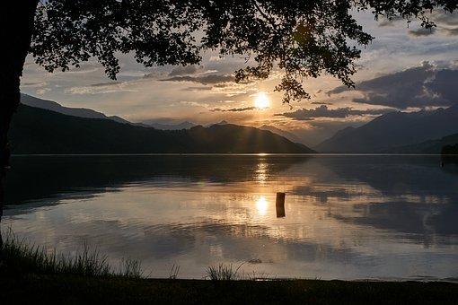 Carinthia, Millstatt, Sunset, Mountains, Lake, Austria