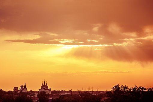 Sunset, Rays, Sky, Clouds, Sun, Light, Orange, Color