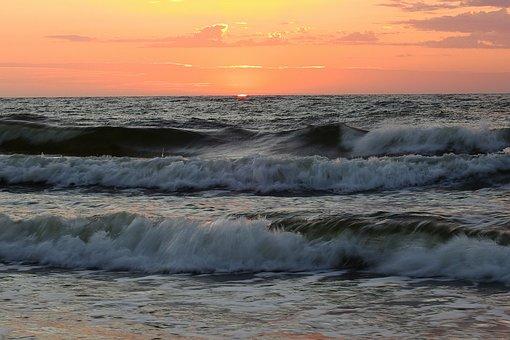 Sunset, Sea, The Waves, Landscape