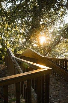 Bridge, Sun, Sunset, Brightness, Architecture