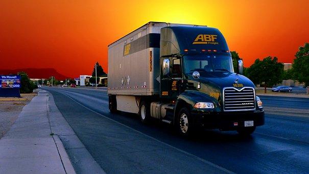Truck, American, Sunset, Vehicle, Transport, Traffic